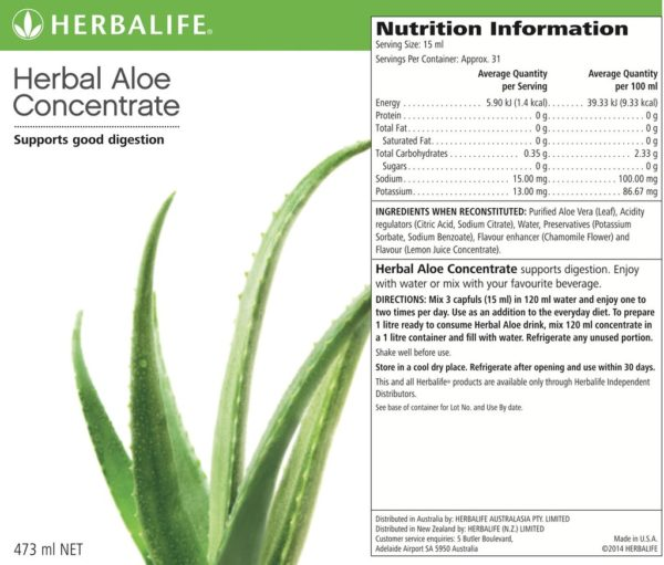Label Aloe Concentrate